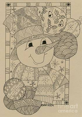 Drawing - Snowman by Eva Ason