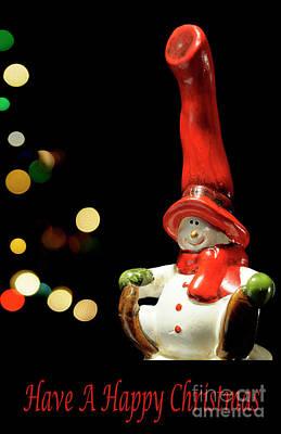 Photograph - Snowman 3 Fun - Christmas Greetings Card by Wendy Wilton
