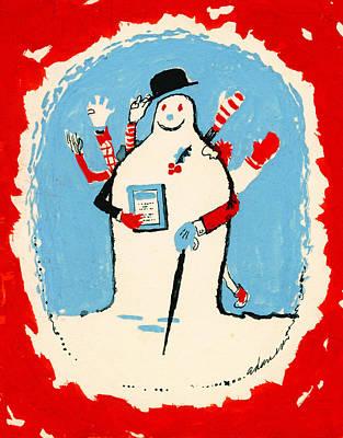 Bowler Painting - Snowman by George Adamson