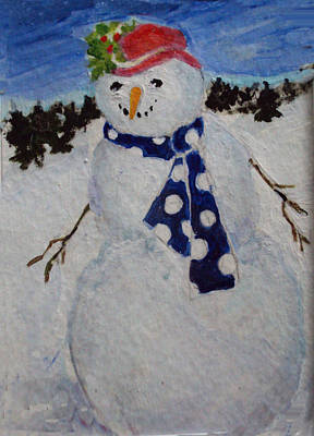 Painting - Snowman In Red Hat by Diane Ursin