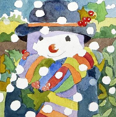 Winter Fun Painting - Snowman In Snow by Jennifer Abbot