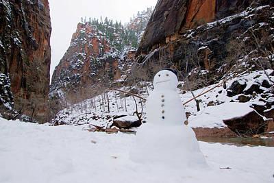 Photograph - Snowman In Zion by Daniel Woodrum