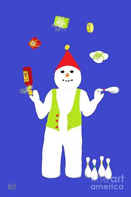Digital Art - Snowman Juggler by Barbara Moignard