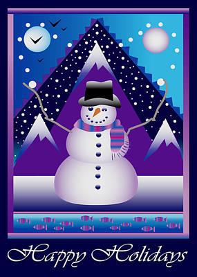 Digital Art - Snowman Juggler by Nancy Griswold