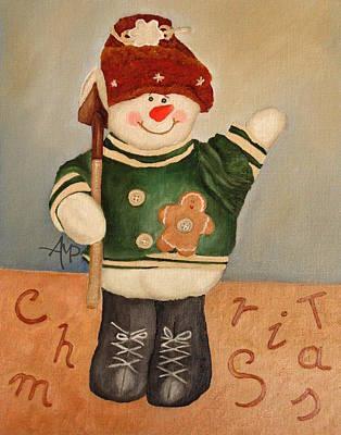 Snowman Junior Art Print by Angeles M Pomata