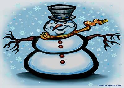 Snowman Art Print by Kevin Middleton