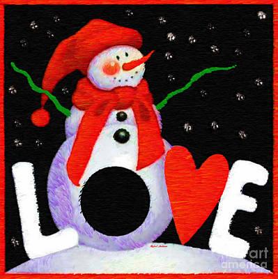 Digital Art - Snowman Love by Rafael Salazar