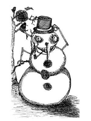 Snowman Art Print by Michael Mooney