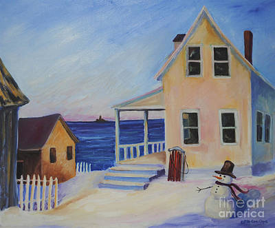 Painting - Snowman On Marthas Vineyard by Cori Caputo