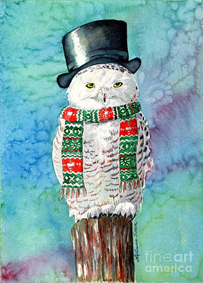 Painting - Snowman Owl by LeAnne Sowa