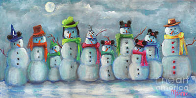 Mad Hatter Painting - Snowman Parade by Marnie Bourque