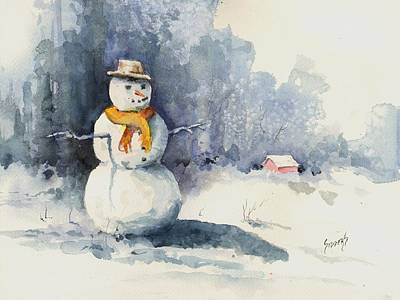 Painting - Snowman by Sam Sidders