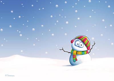 Scarf Digital Art - Snowman by Tooshtoosh