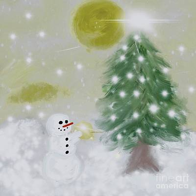 Drawing - Snowman Tree by Susan Garren