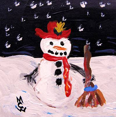 Art Print featuring the painting Snowman Under The Stars by Mary Carol Williams