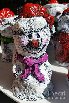 Sculpture - Snowman Pink by Vickie Scarlett-Fisher
