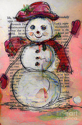 Snowman With Red Hat And Mistletoe Art Print