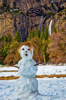 Bare Trees Photograph - Snowman Yosemite Valley by Garry Gay