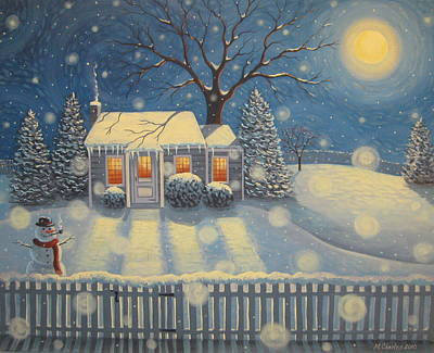Winter Scenes Painting - Snowman's Cottage by Mary Charles