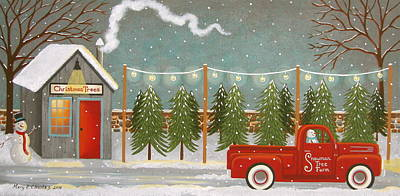 Ford Pickup Painting - Snowman's Tree Stand by Mary Charles