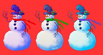 Idealism Digital Art - Snowmen Apparel Design by Teresa Ascone