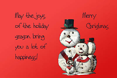 Christmas Cards Digital Art - Snowmen For Christmas by Linda Phelps