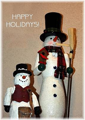 Photograph - Snowmen Greeters by Ellen Barron O'Reilly
