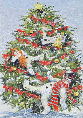 Snowmen In A Christmas Tree Art Print by David Cooke
