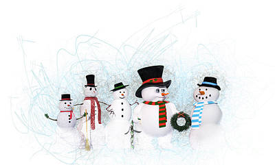 Painting - Snowmen by Methune Hively