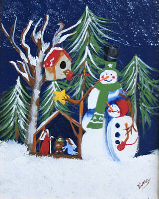 Painting - Snowmen With Creche by Dina Jacobs