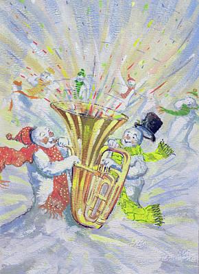 Winter Fun Painting - Snowmen's Oompah by David Cooke