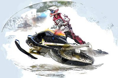 Winter Sports Painting - Snowmobile Competition by Elaine Plesser