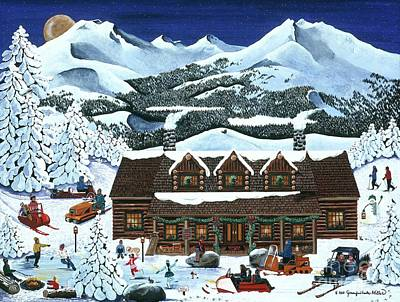 Snowmobile Holiday Art Print