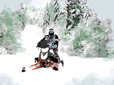 Winter Sports Painting - Snowmobile In Backwoods Snow by Elaine Plesser