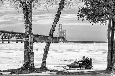 Print featuring the photograph Snowmobile Michigan Black And White  by John McGraw