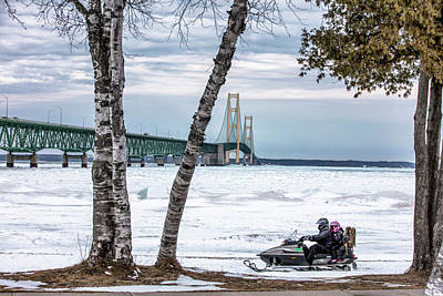 Print featuring the photograph Snowmobile Michigan  by John McGraw