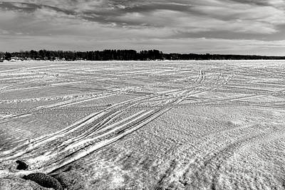 Snowmobile Tracks On China Lake Art Print