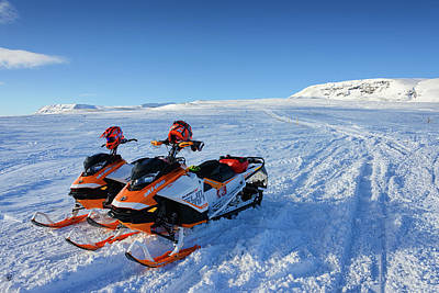 Print featuring the photograph Snowmobiles In Iceland In Winter by Matthias Hauser