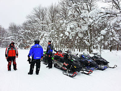 Photograph - Snowmobiles In Winter Wonderland by Brook Burling
