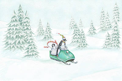 Penguin Mixed Media - Snowmobiling Penguins by Heidi Thompson