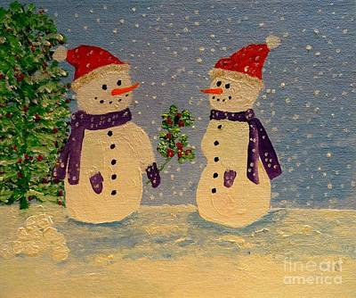 Painting - Snow-people At Christmas by Karen Jane Jones