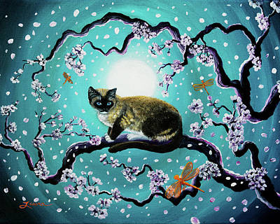 Sakura Painting - Snowshoe Cat And Dragonfly In Sakura by Laura Iverson