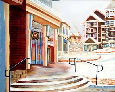 Snowshoe Village Shops Art Print by Shelia Kempf
