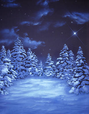 Snow Covered Pine Trees Painting - Snowstars by William Rogers