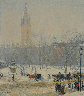 Snowstorm Painting - Snowstorm, Madison Square by Childe Hassam