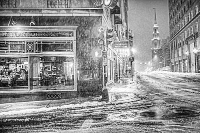 Photograph - Snowstorm On Tremont Street Boston Ma Park Street Church Black And White by Toby McGuire