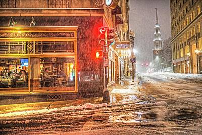 Photograph - Snowstorm On Tremont Street Boston Ma Park Street Church by Toby McGuire