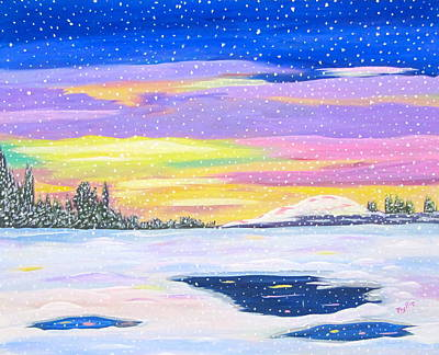 Art Print featuring the painting Snowstorm by Phyllis Kaltenbach