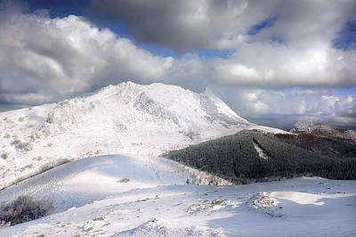 snowy Anboto from Urkiolamendi at winter Art Print
