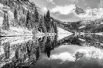Photograph - Snowy Aspen Colorado Maroon Bells In Black And White by Gregory Ballos